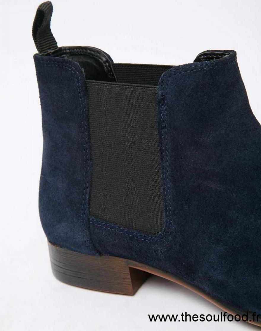 asos bottines chelsea en daim homme bleu marine chaussures asos france sm24001365. Black Bedroom Furniture Sets. Home Design Ideas
