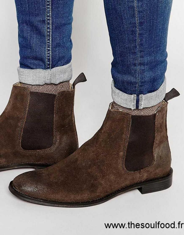 Asos - Bottines Chelsea En Daim Homme Marron Chaussures   Asos France  JM19001233 e858b806c46b