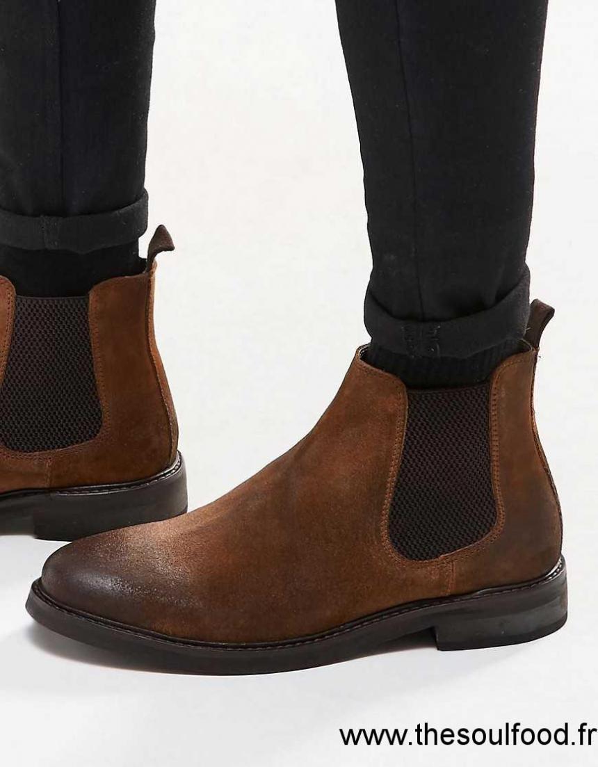 asos bottines chelsea en daim semelle paisse fauve homme fauve chaussures asos france. Black Bedroom Furniture Sets. Home Design Ideas