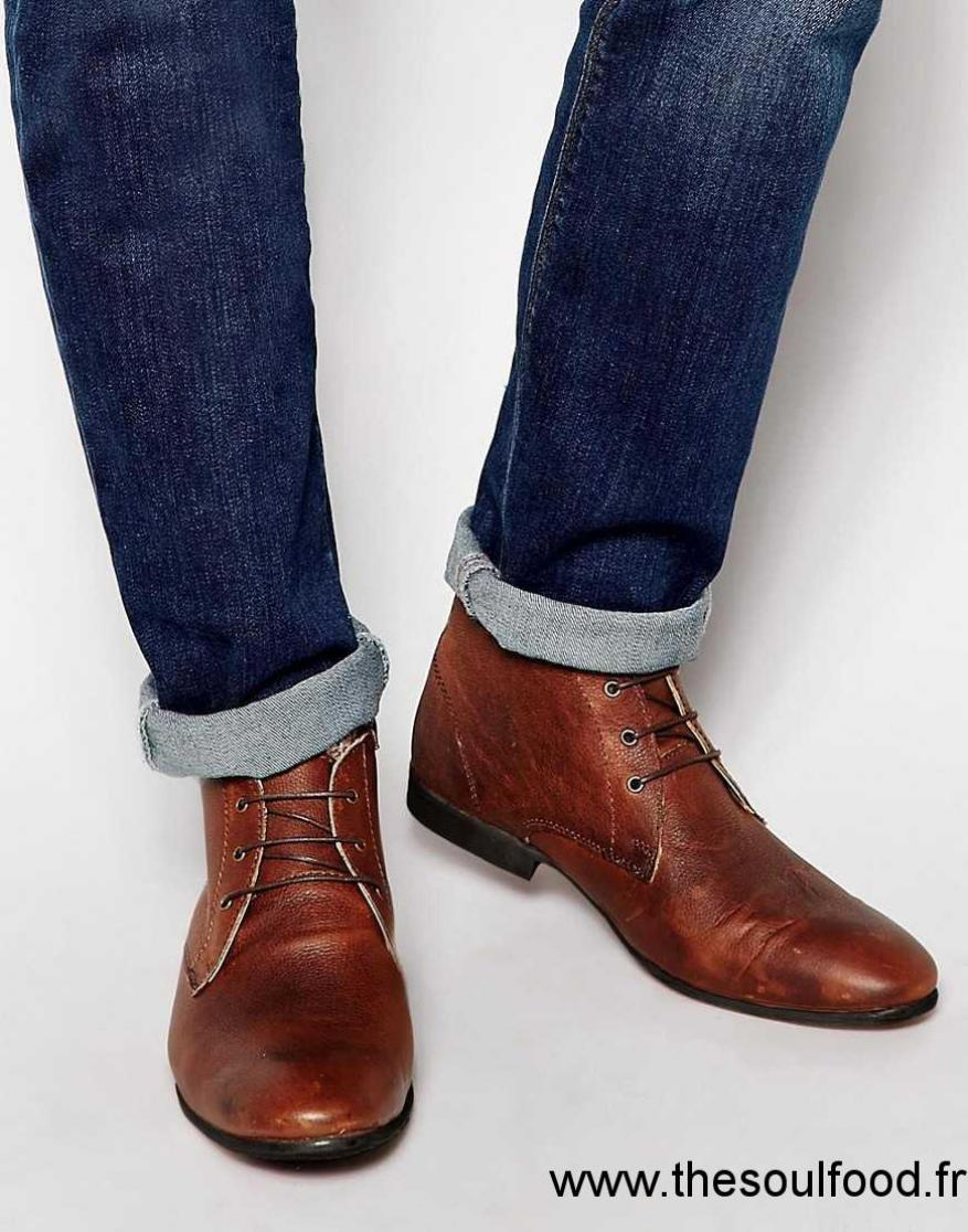 asos bottines chukka en cuir homme marron chaussures. Black Bedroom Furniture Sets. Home Design Ideas