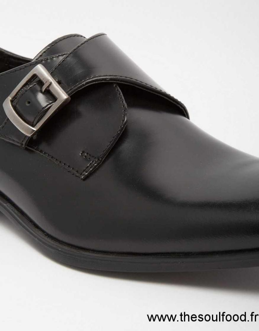 asos chaussures derby en cuir avec boucle noir homme. Black Bedroom Furniture Sets. Home Design Ideas