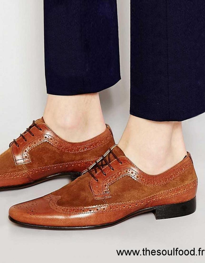 Asos - Chaussures Richelieu En Cuir Et Daim - Fauve Homme Fauve Chaussures    Asos France MZ44001403 4b1a3d768066