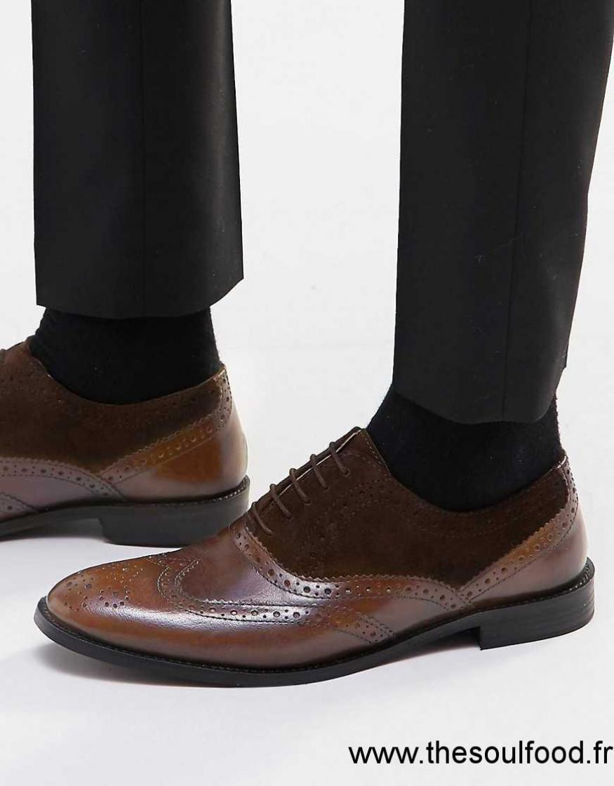 Asos - Chaussures Richelieu En Cuir Et Daim - Marron Homme Marron Chaussures    Asos France PR94001317 2852b05ad292