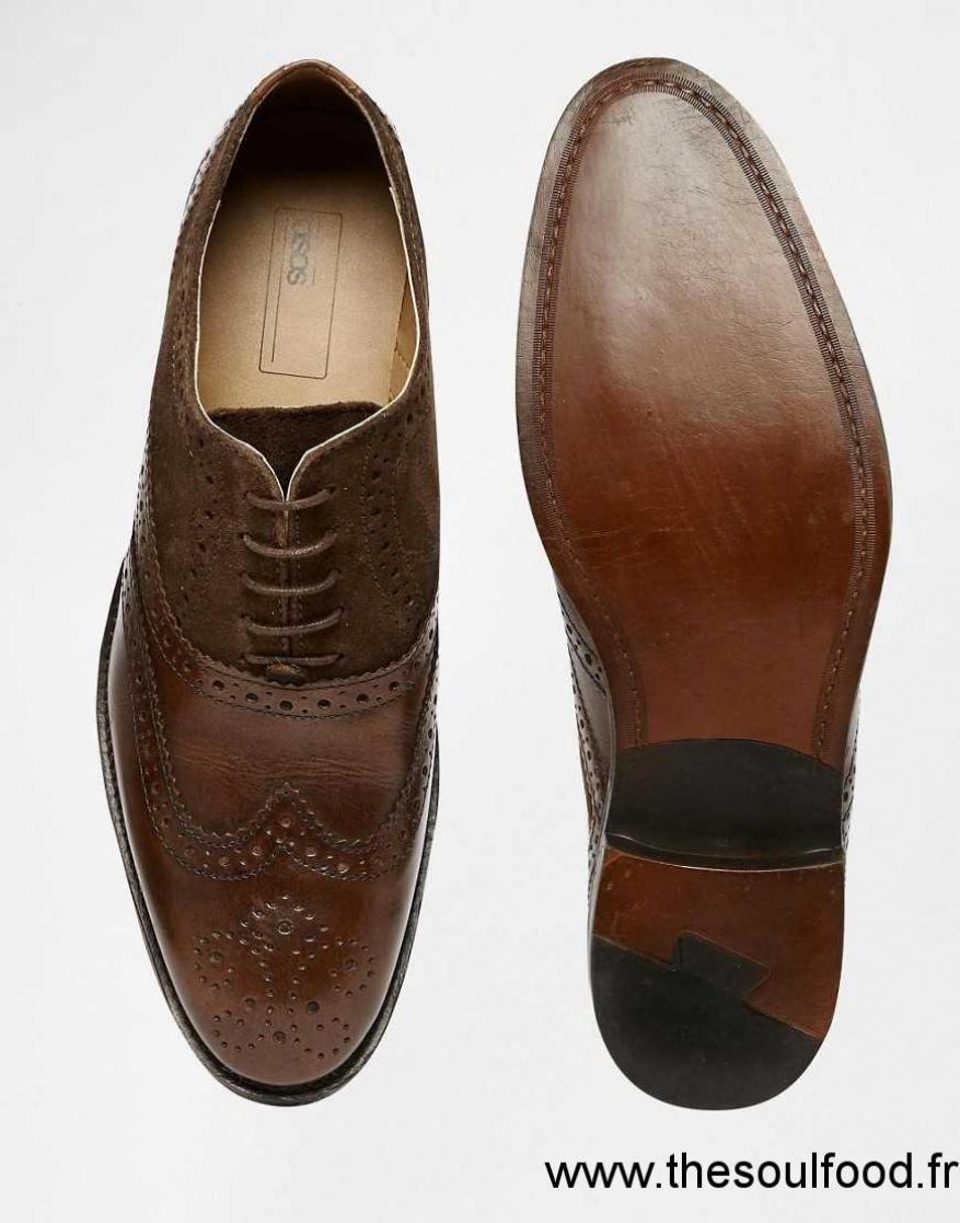 afb60843652 Asos - Chaussures Richelieu En Cuir Et Daim - Marron Homme Marron Chaussures