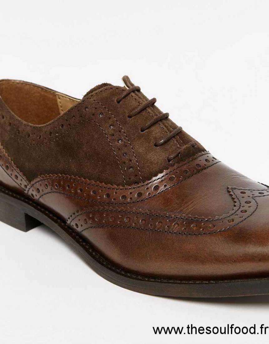 asos chaussures richelieu en cuir et daim marron homme. Black Bedroom Furniture Sets. Home Design Ideas