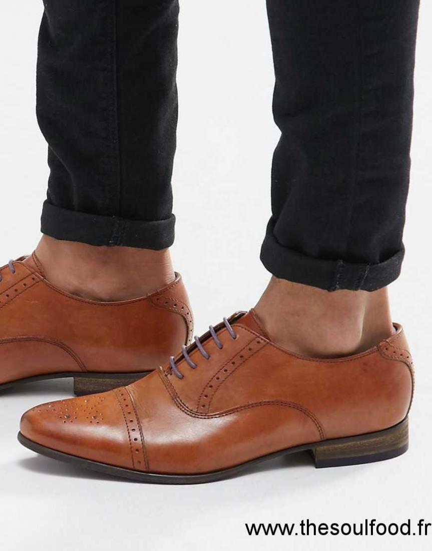 De En Asos Richelieu Chaussures Empiècement Cuir Fauve Avec W9ED2eIYHb