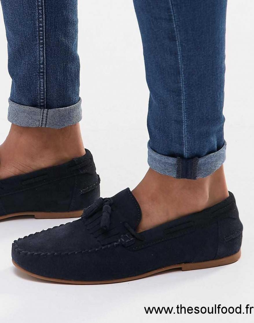 Asos mocassins en daim avec franges et glands bleu - Laver chaussure en daim ...