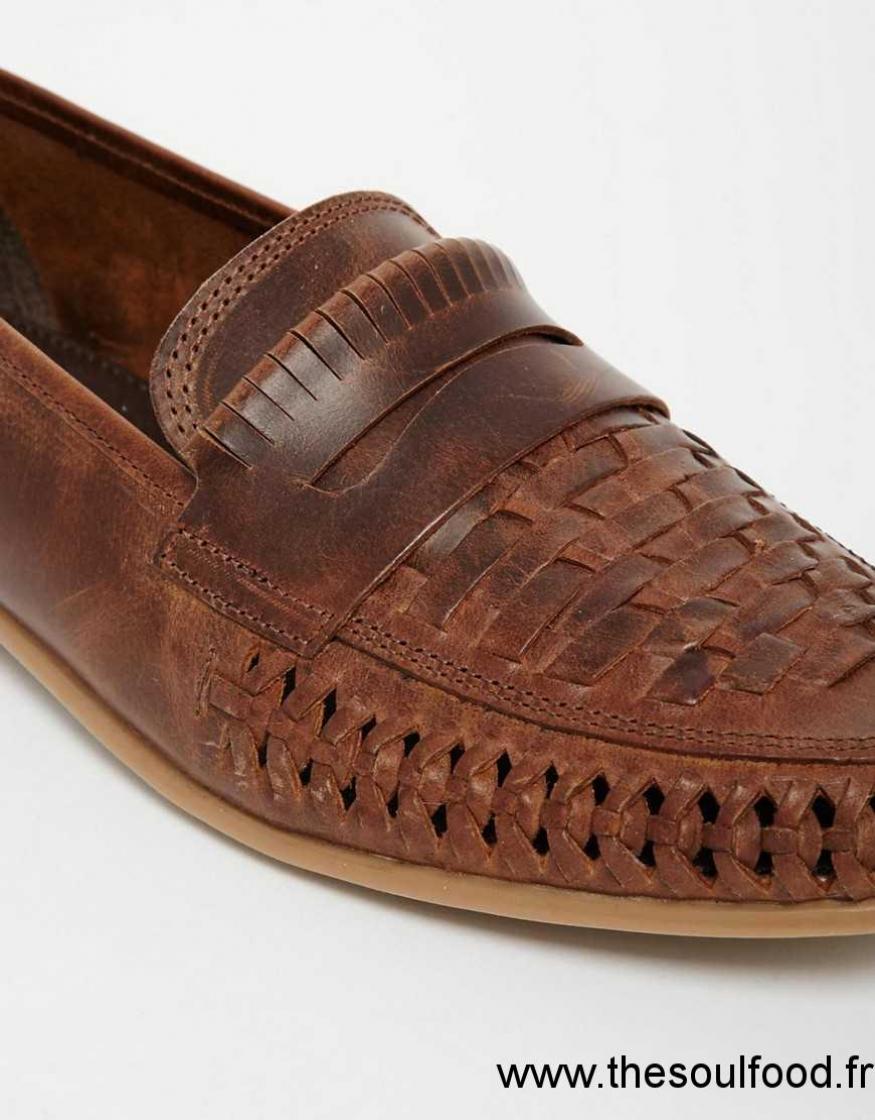 Asos Fauve Tressés En Cuir Homme Tpxzouki Mocassins Chaussures by76gf