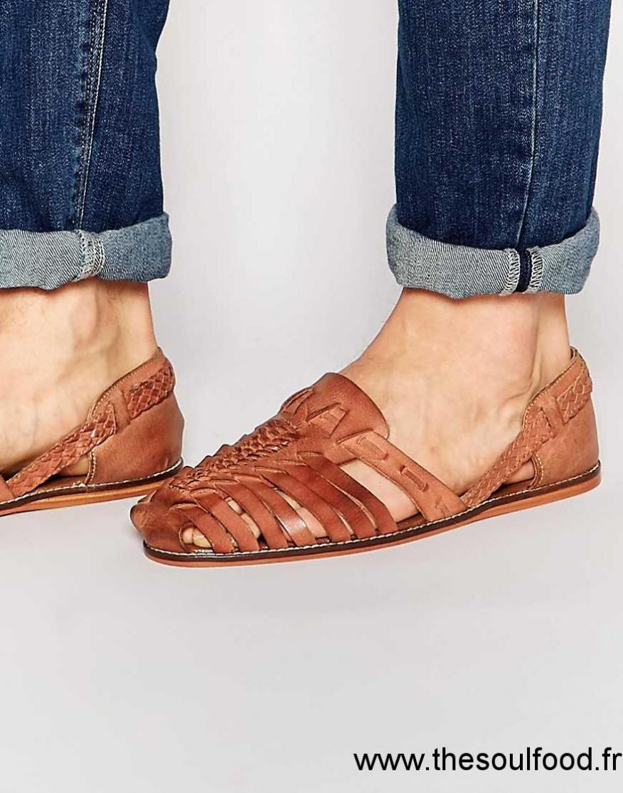 Nouvelles Arrivées la vente de chaussures site autorisé Asos - Sandales En Cuir Tressé - Fauve Homme Fauve ...