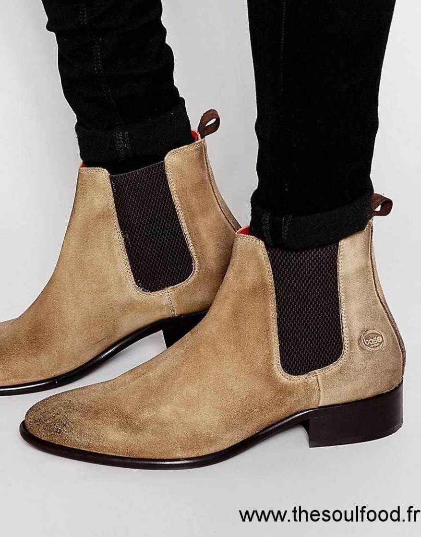 21d08df5292 Base London - Arthur - Bottines Chelsea En Cuir Homme Beige Chaussures