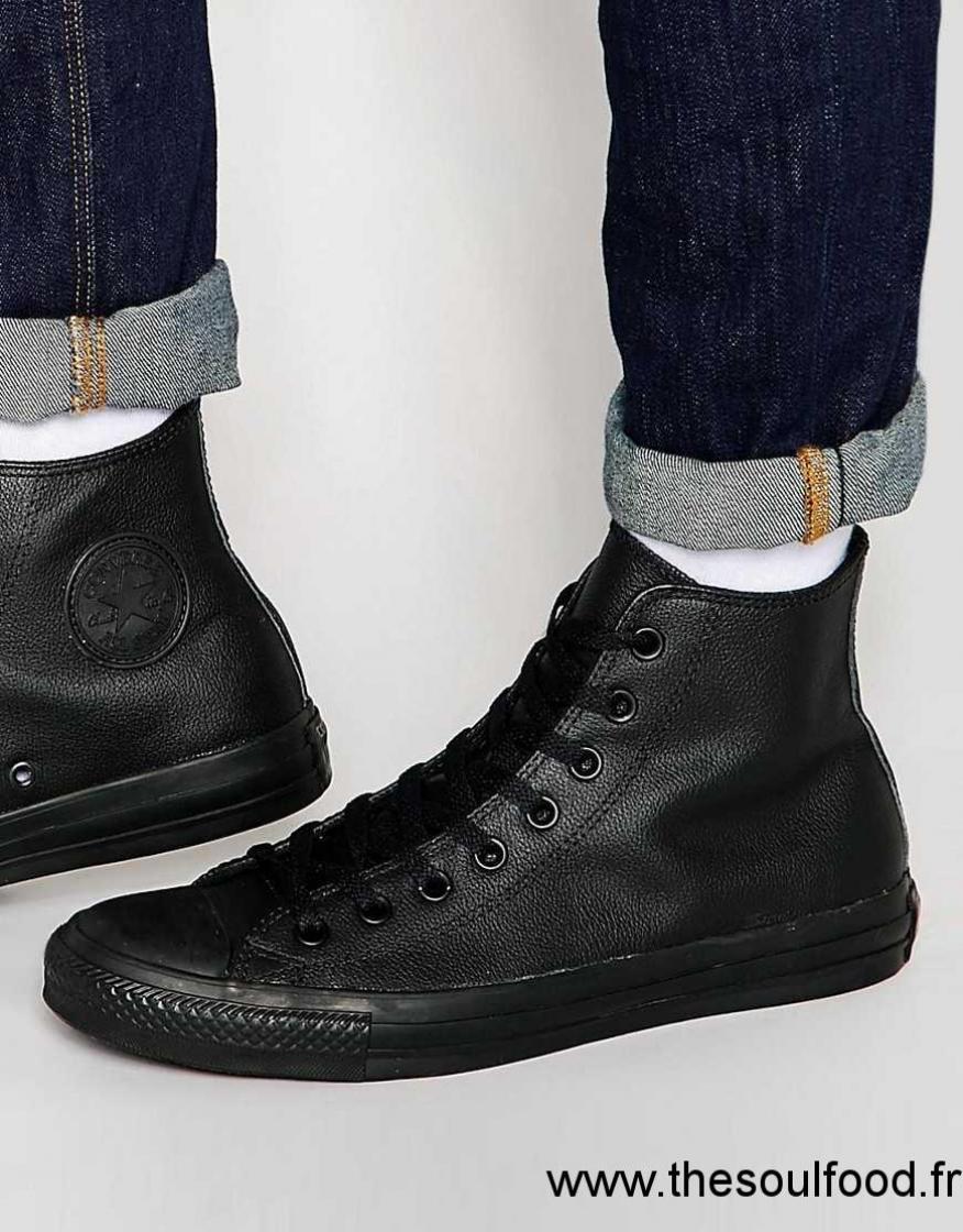 converse noir cuir homme