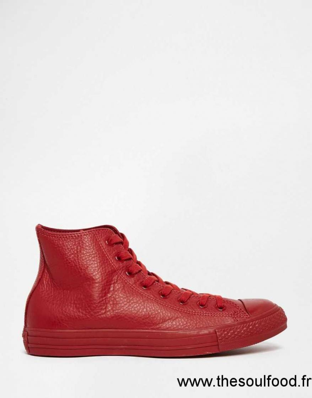 converse chuck taylor all star 151103c baskets montantes en cuir uni rouge homme rouge. Black Bedroom Furniture Sets. Home Design Ideas