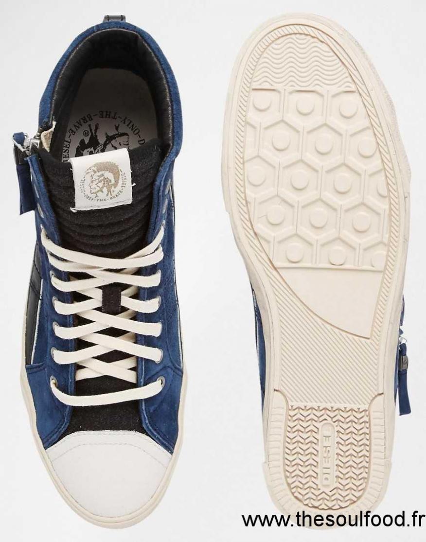 Homme En Chaussures Diesel String D Bleu Daim Baskets atS6Xxq