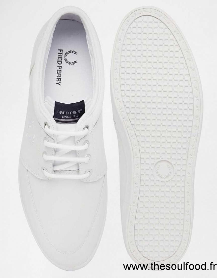 Fred Perry Stratford Baskets En Cuir Homme Blanc