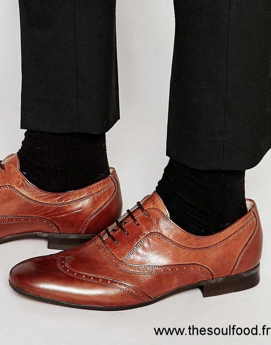 5c15a3f8045 Hudson London - Francis - Chaussures Richelieu En Cuir Homme Marron  Chaussures
