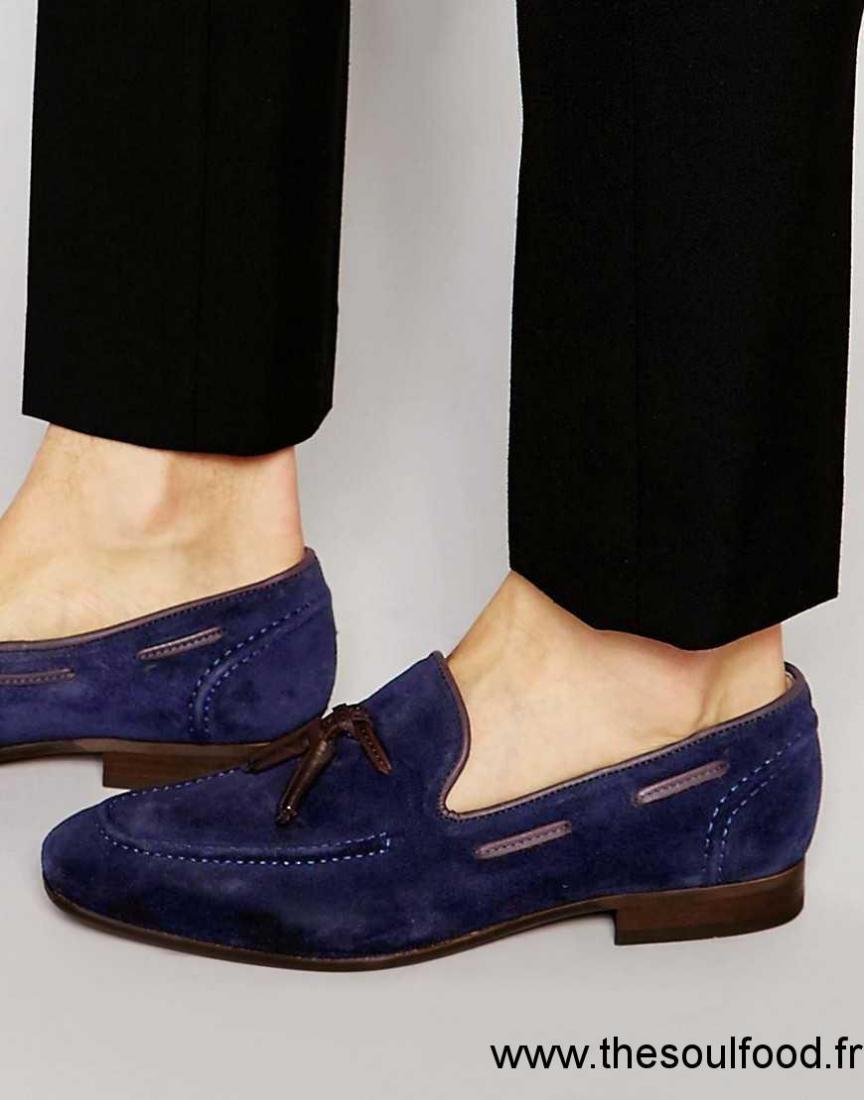 d2763e920841 Hudson London - Pierre - Mocassins À Pampilles Homme Bleu Marine Chaussures  | Hudson London France NH04002424