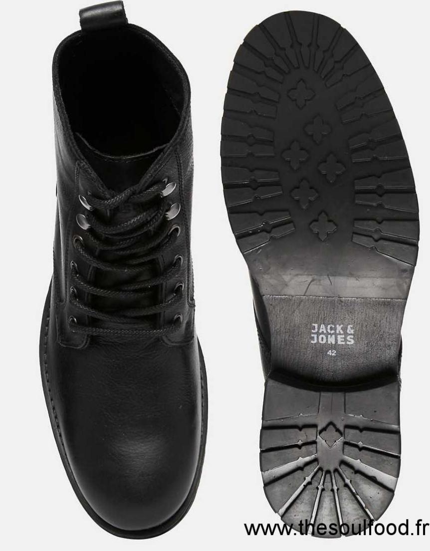 jack jones crust bottines en cuir homme noir chaussures jack jones france gn87002540. Black Bedroom Furniture Sets. Home Design Ideas