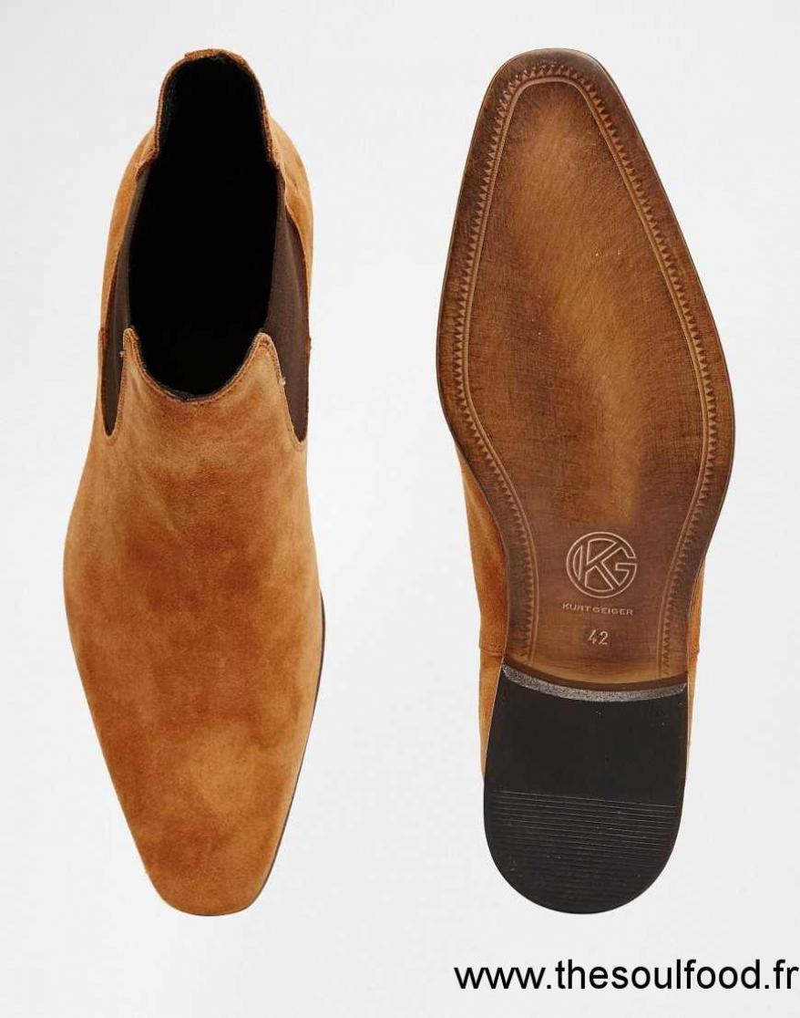 89b1b24a0ed2 Kurt Geiger - Francis - Bottines Chelsea En Daim Homme Fauve Chaussures