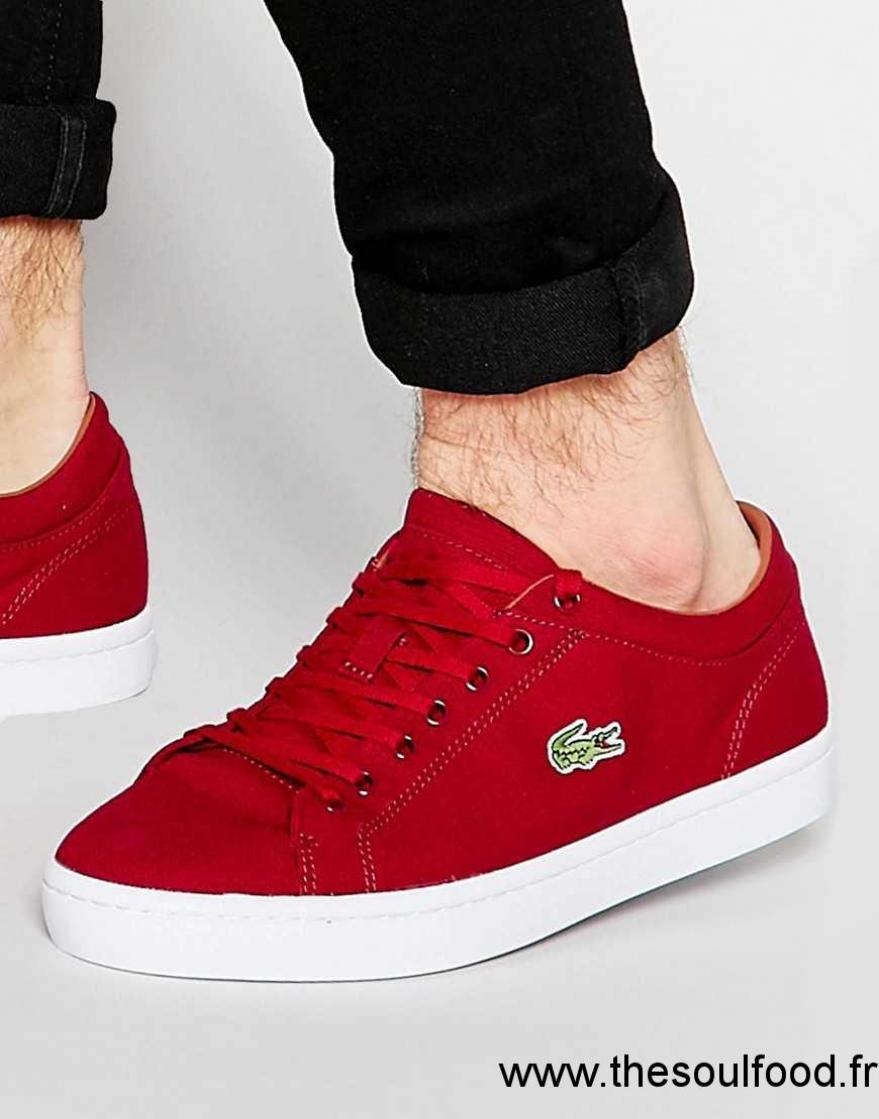 1a5399b127 Lacoste - Straighset - Baskets En Toile Homme Rouge Chaussures | Lacoste  France GZ18002738