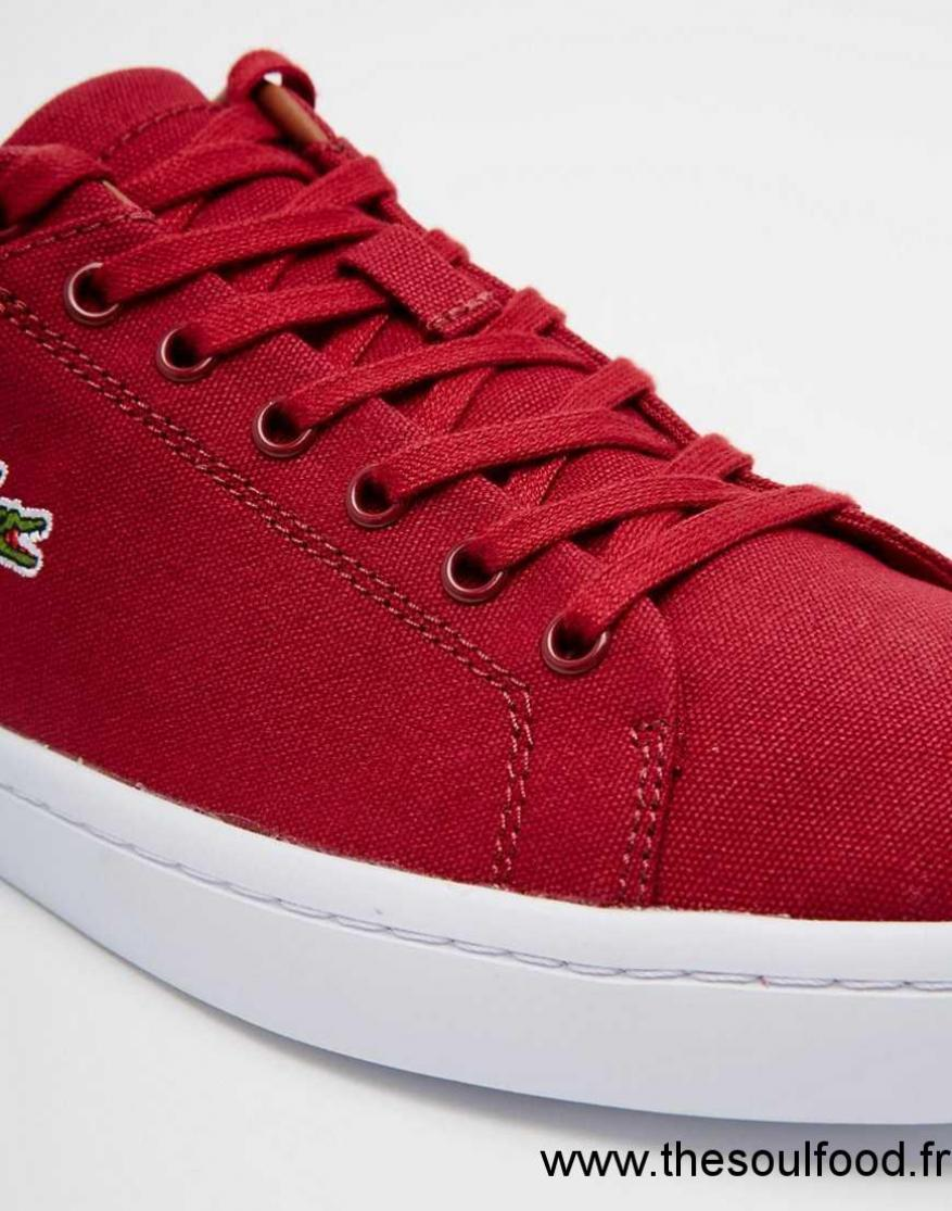 Lacoste Rouge Chaussures Straighset En Toile Baskets Homme JFK1lc