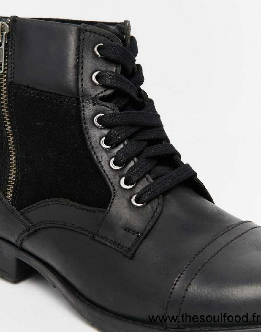 new look bottes en cuir style militaire noir homme noir chaussures new look france uz47003166. Black Bedroom Furniture Sets. Home Design Ideas