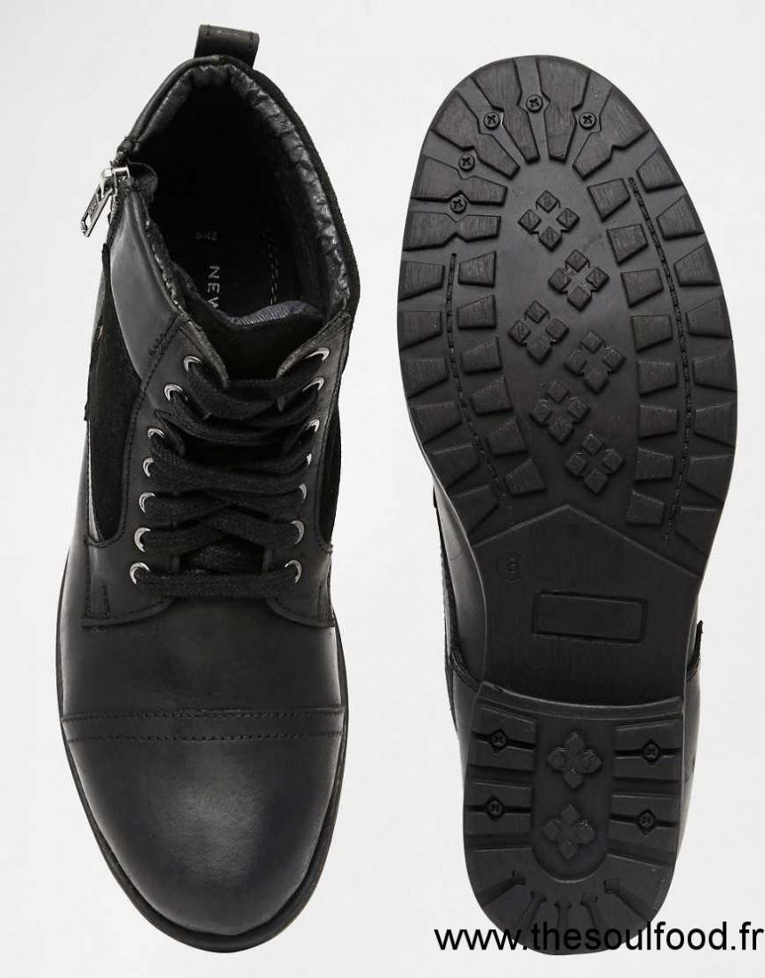 7c979d51b New Look - Bottes En Cuir Style Militaire - Noir Homme Noir ...