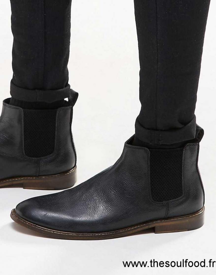 f628715bbb62e1 New Look - Bottines Chelsea En Cuir - Noir Homme Noir Chaussures | New Look  France