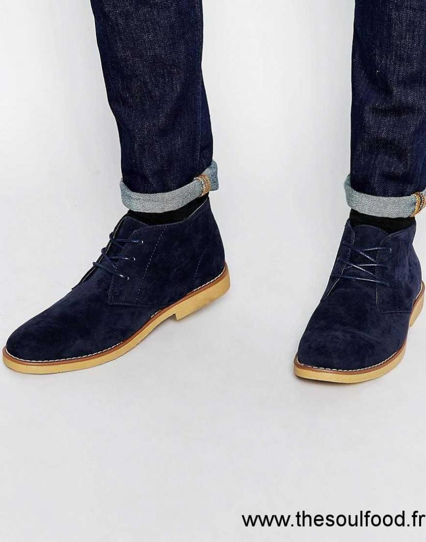 new look desert boots en similicuir lacets homme bleu marine chaussures new look france. Black Bedroom Furniture Sets. Home Design Ideas