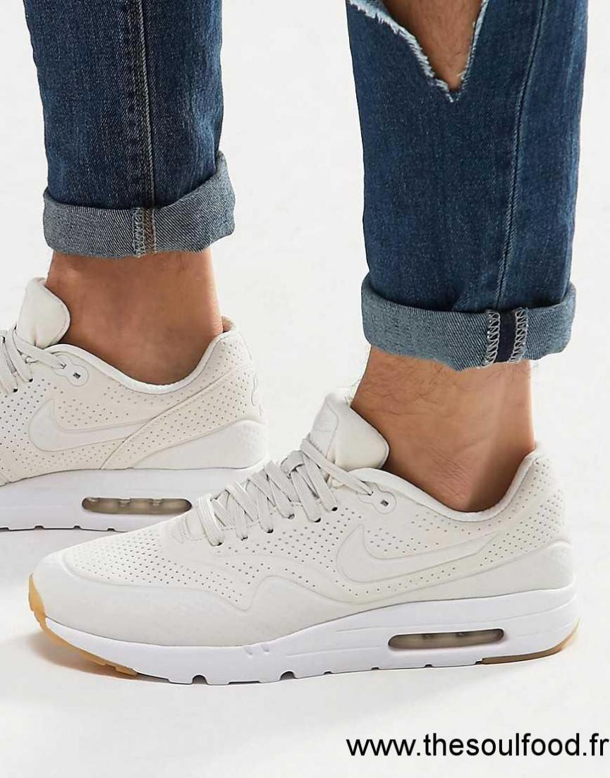 new product e8a93 fe990 Nike - Air Max 1 Ultra Moire - Baskets 705297-009 Homme Blanc Chaussures    Nike France JH27003293