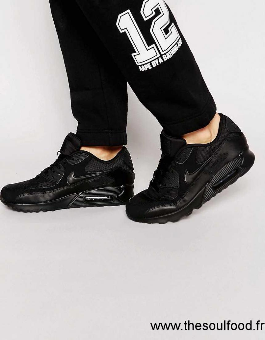 new product 6d7ad 7591f Nike - Air Max 90 Essential - Baskets 537384-090 Homme Noir Chaussures    Nike