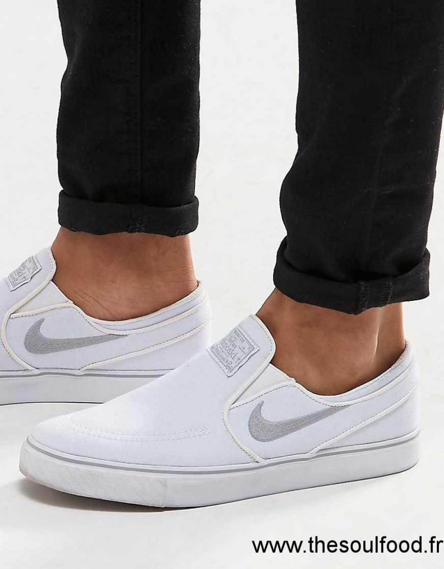 aea849b7623a2 Nike Sb - Zoom Stefan Janoski 831749-100 - Baskets À Enfiler Homme Blanc  Chaussures | Nike Sb France SE19003408
