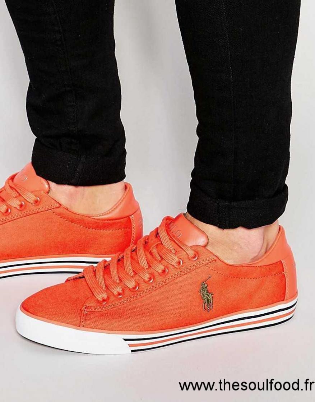 Chaussures Lauren Harvey Ralph Polo Baskets Basses Orange Homme 29YEDIWH