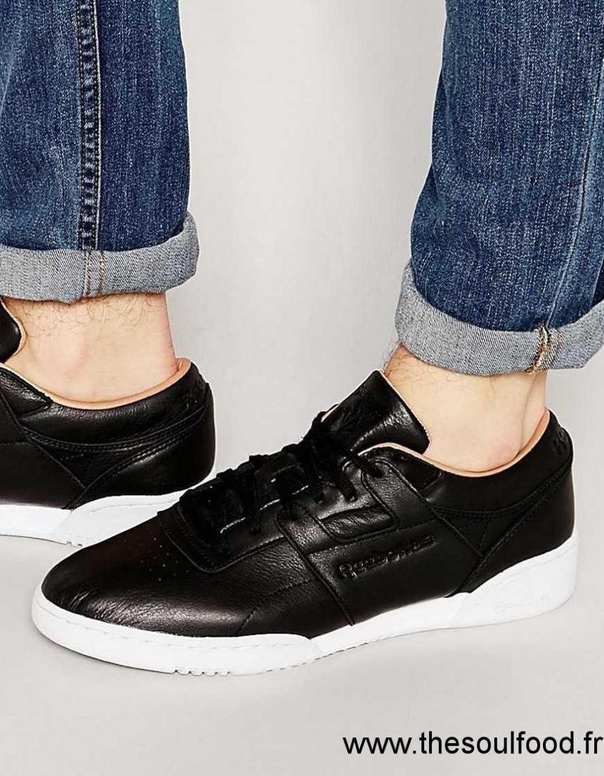 08bcbaef62d Reebok - Workout Lo Clean V68814 - Baskets Premium En Cuir - Noir Homme  Noir Chaussures