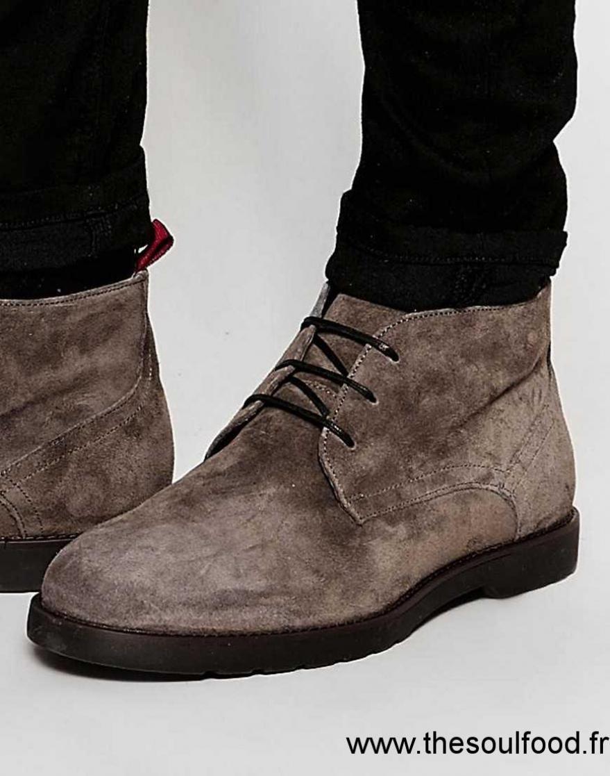 River Island - Desert Boots En Daim À Semelles Épaisses - Gris Homme Gris  Foncé Chaussures 6d67385c187