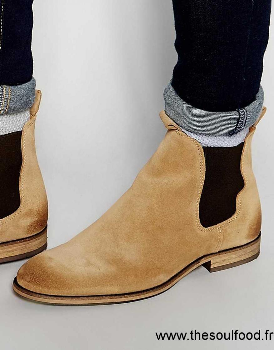 26d1344984ca03 Selected Homme - Melvin - Bottines Chelsea En Daim Homme Marron Chaussures  | Selected Homme France MU70003976