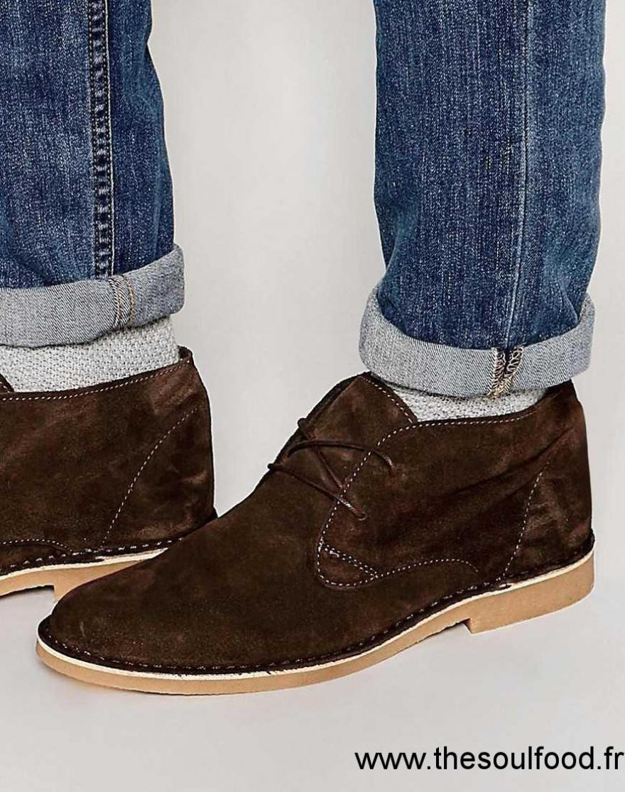 selected homme royce desert boots en daim homme marron chaussures selected homme france. Black Bedroom Furniture Sets. Home Design Ideas