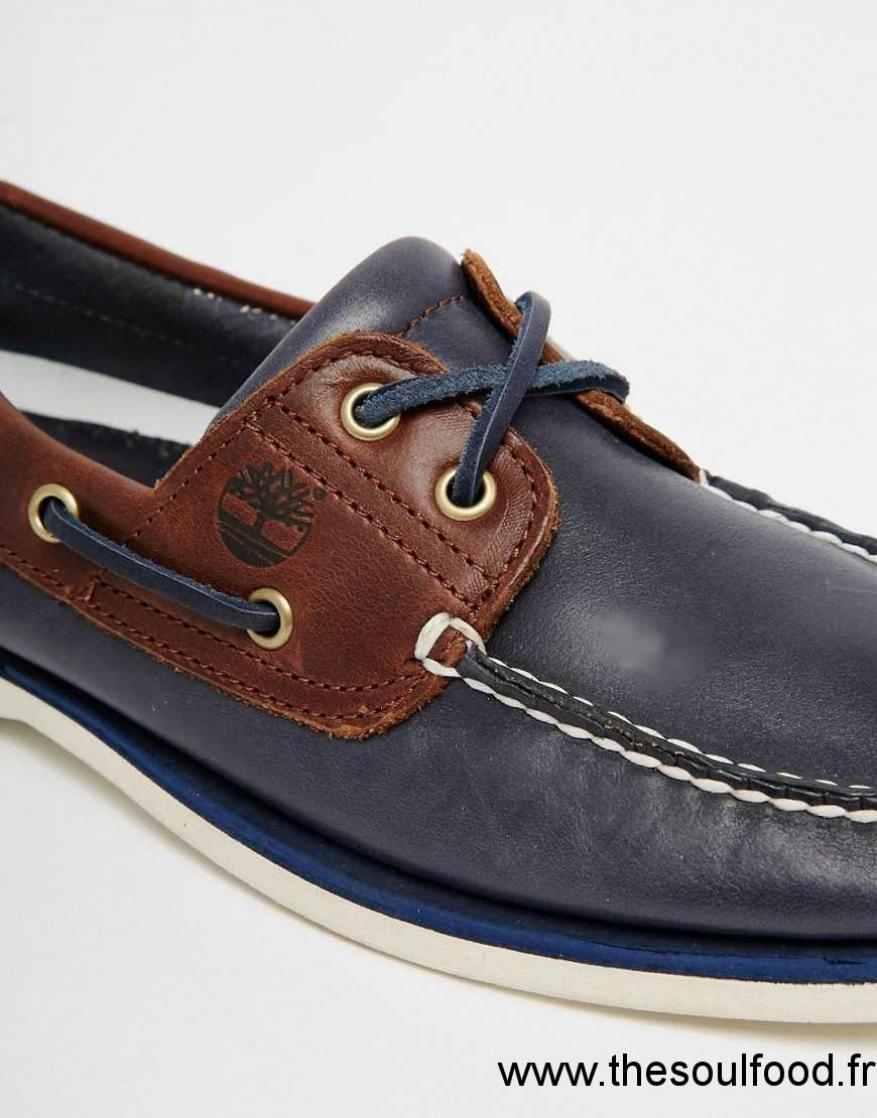Timberland Chaussures Bateau Classiques En Cuir Homme Bleu Chaussures | Timberland France QF76004291