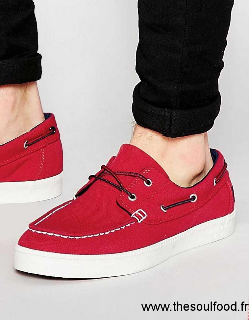 d2ead1689037 Timberland - Newport - Chaussures Bateau En Toile Homme Rouge Chaussures