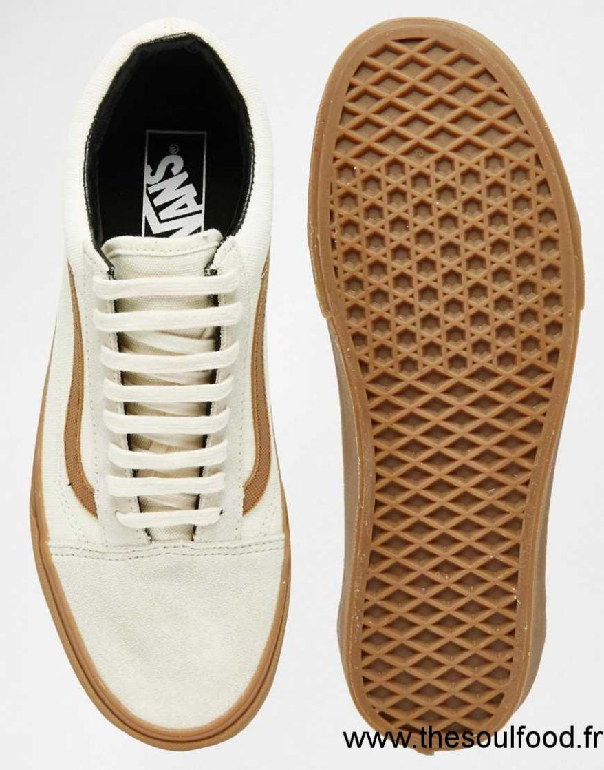 Blanc Wggpqif Baskets En Skool Old Caoutchouc Chaussures Vans Homme DHEI29
